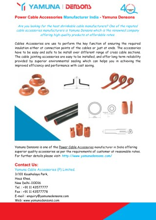Power Cable Accessories Manufacturer India - Yamuna Densons