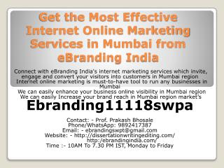 Get the Most Effective Internet Online Marketing Services in Mumbai from eBranding India