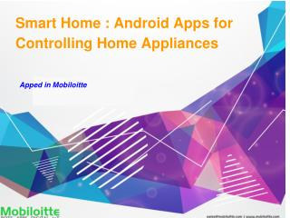 Smart Home : Android Apps for Controlling Home Appliances