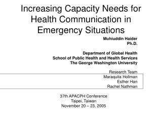 Increasing Capacity Needs for Health Communication in Emergency Situations