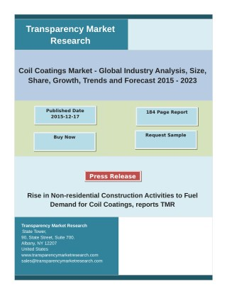 Global Coil Coatings Market Growth, Share, Demand and Analysis of Key Players- Research Forecasts to 2023