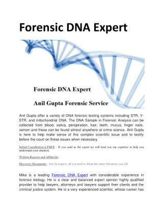 Forensic DNA Expert