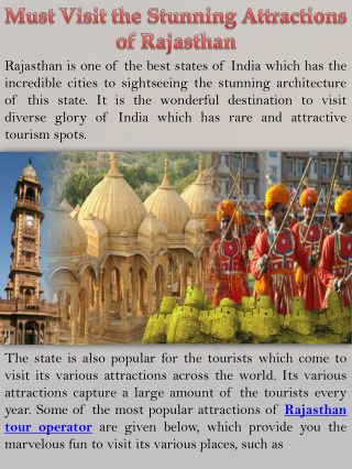 Must Visit the Stunning Attractions of Rajasthan