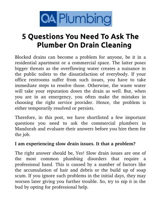 5 Questions You Need To Ask The Plumber On Drain Cleaning