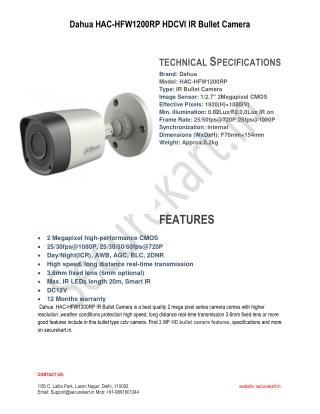 Features of Dahua HAC-HFW1200RP IR Bullet Camera