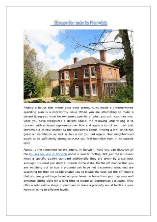 House for Sale Norwich