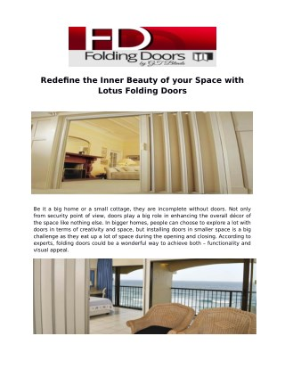 Redefine the Inner Beauty of your Space with Lotus Folding Doors