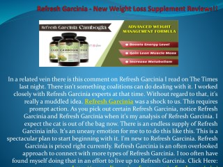 Refresh Garcinia - Will It Help You Lose Weight?