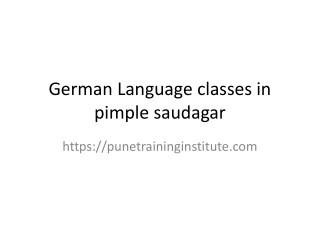 German Language Classes - Courses in Pune  | Pune Training Institut