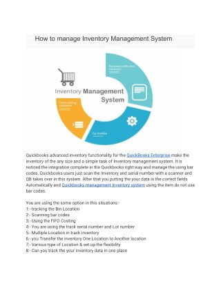 How to manage Inventory Management System