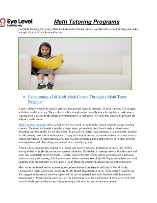Math Tutoring Programs - Afterschoolmaths.com