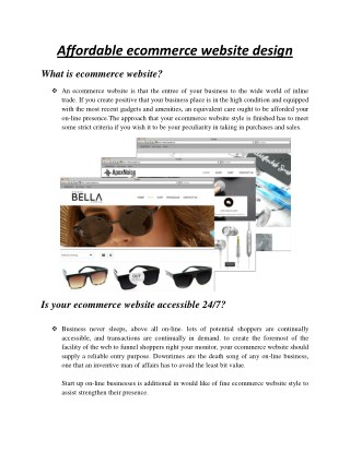 Affordable ecommerce website design