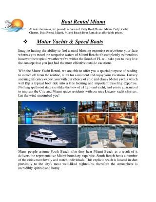 Boat Rental Miami - waterfantaseas.com