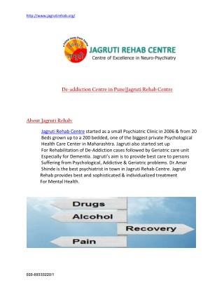 De addiction centre in Pune|Jagruti Rehab Centre