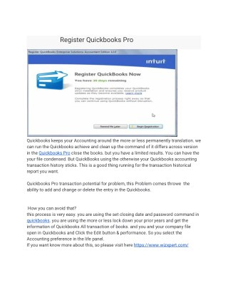 Register Quickbooks Pro