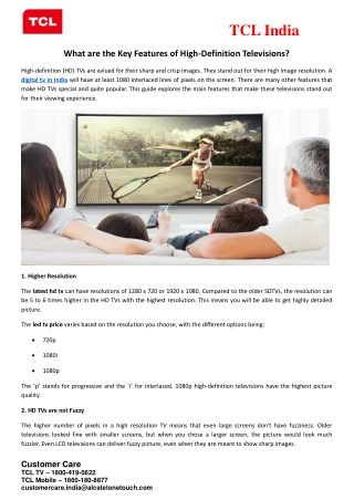 What are the Key Features of High-Definition Televisions?