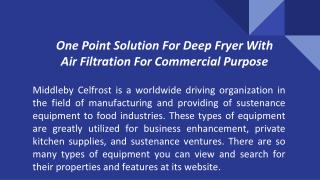 One Point Solution For Deep Fryer With Air Filtration For Commercial Purpose