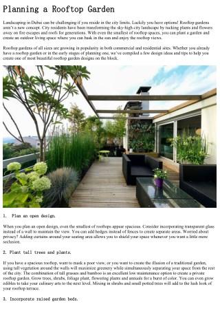 How to design rooftop garden   Milestone