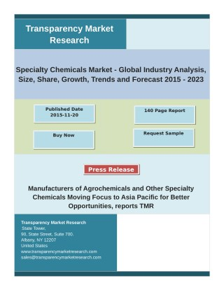 Specialty Chemicals Market Key Trends, Share, Growth Factors and Industry Analysis 2015 – 2023