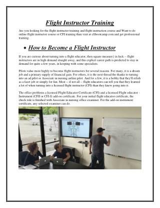 Flight Instructor Training - cfibootcamp.com