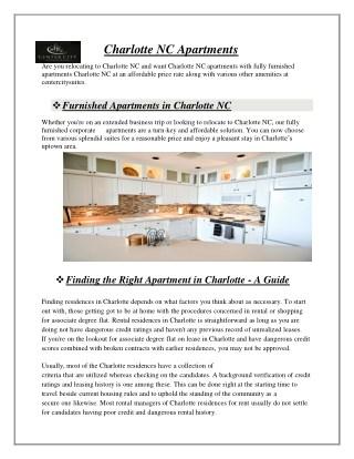 Charlotte NC Apartments - centercitysuites.com