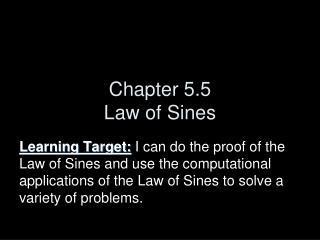 Chapter 5.5 Law of Sines