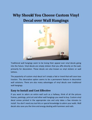 Why Should You Choose Custom Vinyl Decal over Wall Hangings