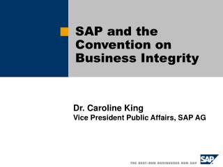SAP and the Convention on Business Integrity