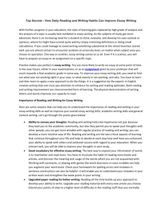 How Daily Reading and Writing Habits Can Improve Essay Writing