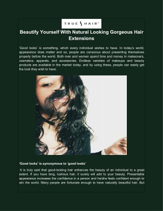 Beautify Yourself With Natural Looking Gorgeous Hair Extensions