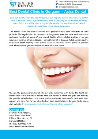 Dental Clinic In Gurgaon- Best Dentist In Gurgaon – Axiss Dental