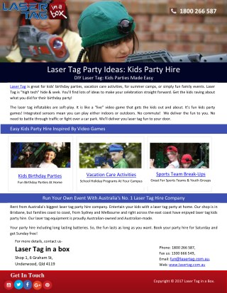Laser Tag Party Ideas: Kids Party Hire