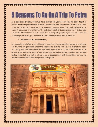 5 Reasons To Go On A Trip To Petra