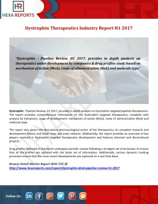 Dystrophin Market, Therapeutics Landscape and  Pipeline Review H1 2017