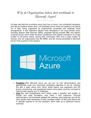 Why do Organizations believe their workloads to Microsoft Azure?