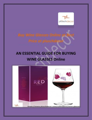 Buy Wine Glasses Online at Best Price at pluschdecor