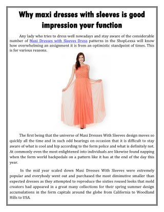 Why maxi dresses with sleeves is good impression your function