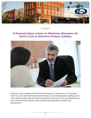 A Personal Injury Lawyer in Oklahoma Discusses the State's Law on Defective Product Liability
