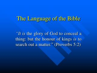 The Language of the Bible