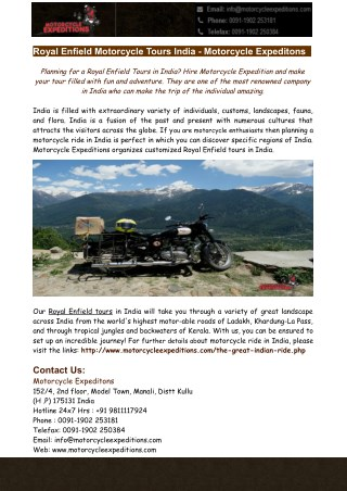 Royal Enfield Motorcycle Tours India - Motorcycle Expeditons