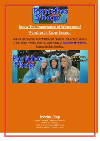 Know The Importance of Waterproof Ponchos In Rainy Season