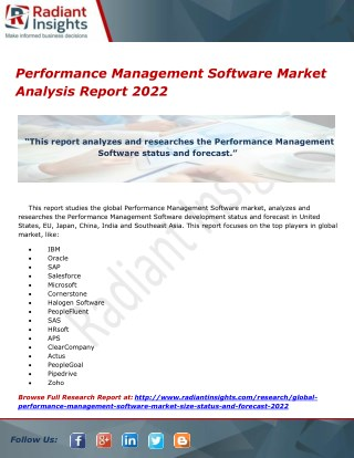 Performance Management Software Market Analysis Report 2022