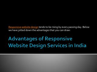 Advantages of Responsive Website Design Services in India