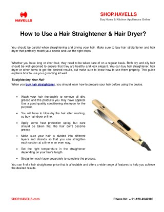 How To Use A Hair Straightener & Hair Dryer?