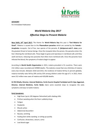 World Malaria Day 2017-Fortis Healthcare