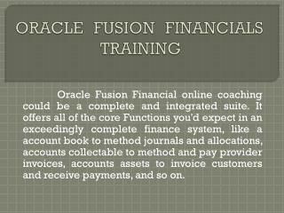 Oracle Fusion Financials Training in Hyderabad