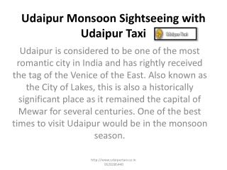Udaipur Monsoon Sightseeing with Udaipur Taxi