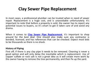 Clay Sewer Pipe Replacement