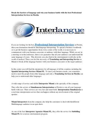 Conference Interpreting in Miami, FL