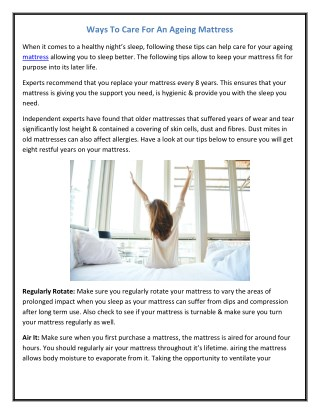 Ways To Care For An Ageing Mattress